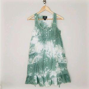 Angie Boho Tie Dye Green & White Midi Dress Medium